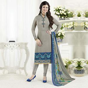 Gorgeous Grey Crape Designer Partywear Embroidered Salwar Suit