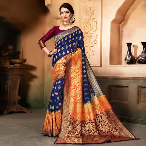 Sensational Blue Colored Festive Wear Woven Raw Silk Saree