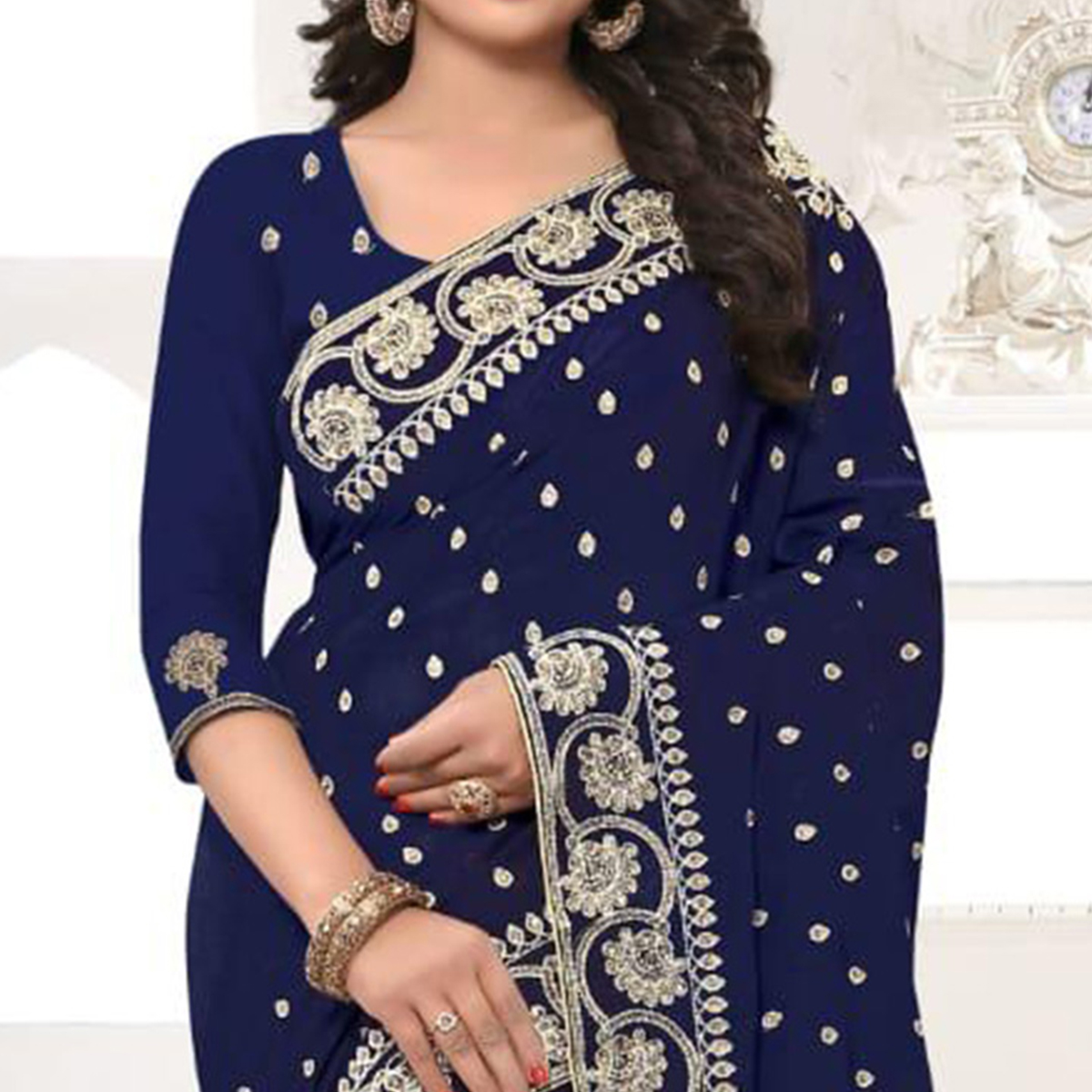 Charming Navy Blue Colored Party Wear Embroidered Georgette Saree