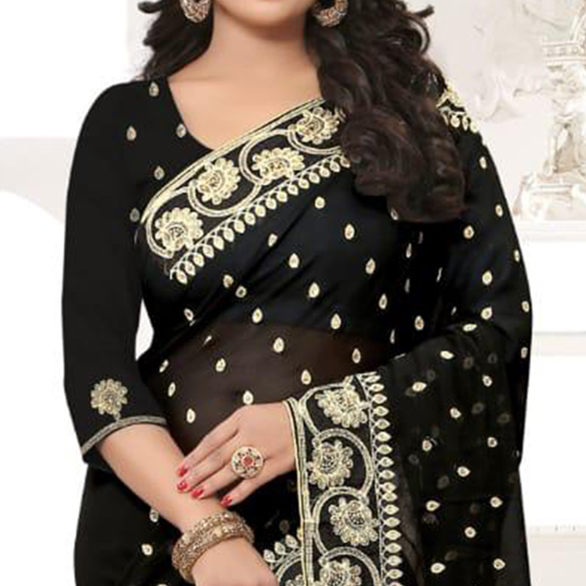 Delightful Black Colored Party Wear Embroidered Georgette Saree