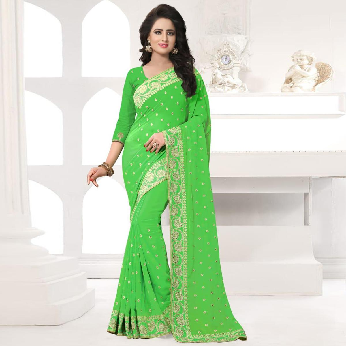 Stunning Green Colored Party Wear Embroidered Georgette Saree