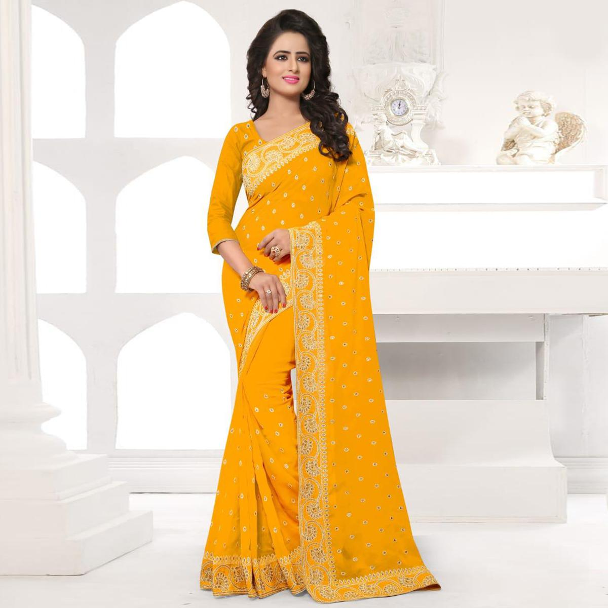 Blooming Yellow Colored Party Wear Embroidered Georgette Saree