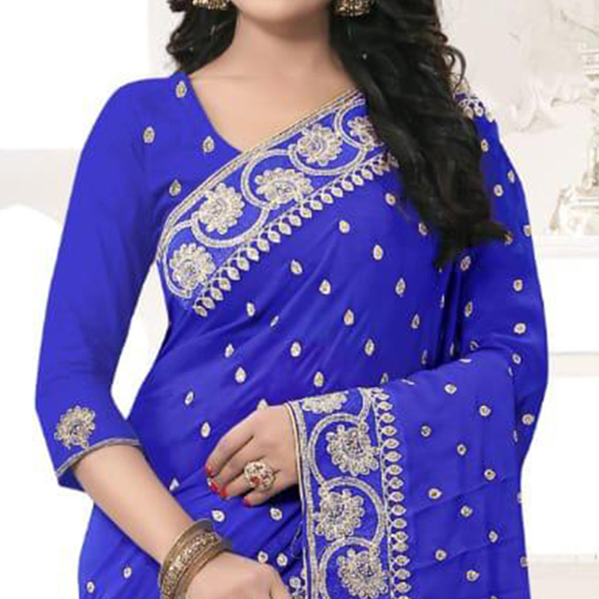Marvellous Royal Blue Colored Party Wear Embroidered Georgette Saree