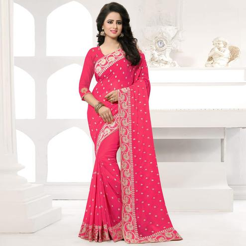 Ravishing Pink Colored Party Wear Embroidered Georgette Saree