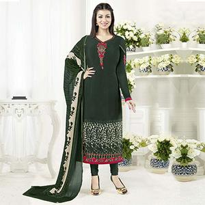 Elegant Dark Green Designer Embroidered Crepe Salwar Suit