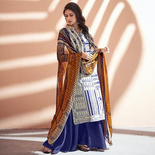 Stylish Off White-Blue Colored Partywear Printed Silk Palazzo Suit