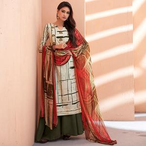 Favorite Off White-Green Colored Partywear Printed Silk Palazzo Suit
