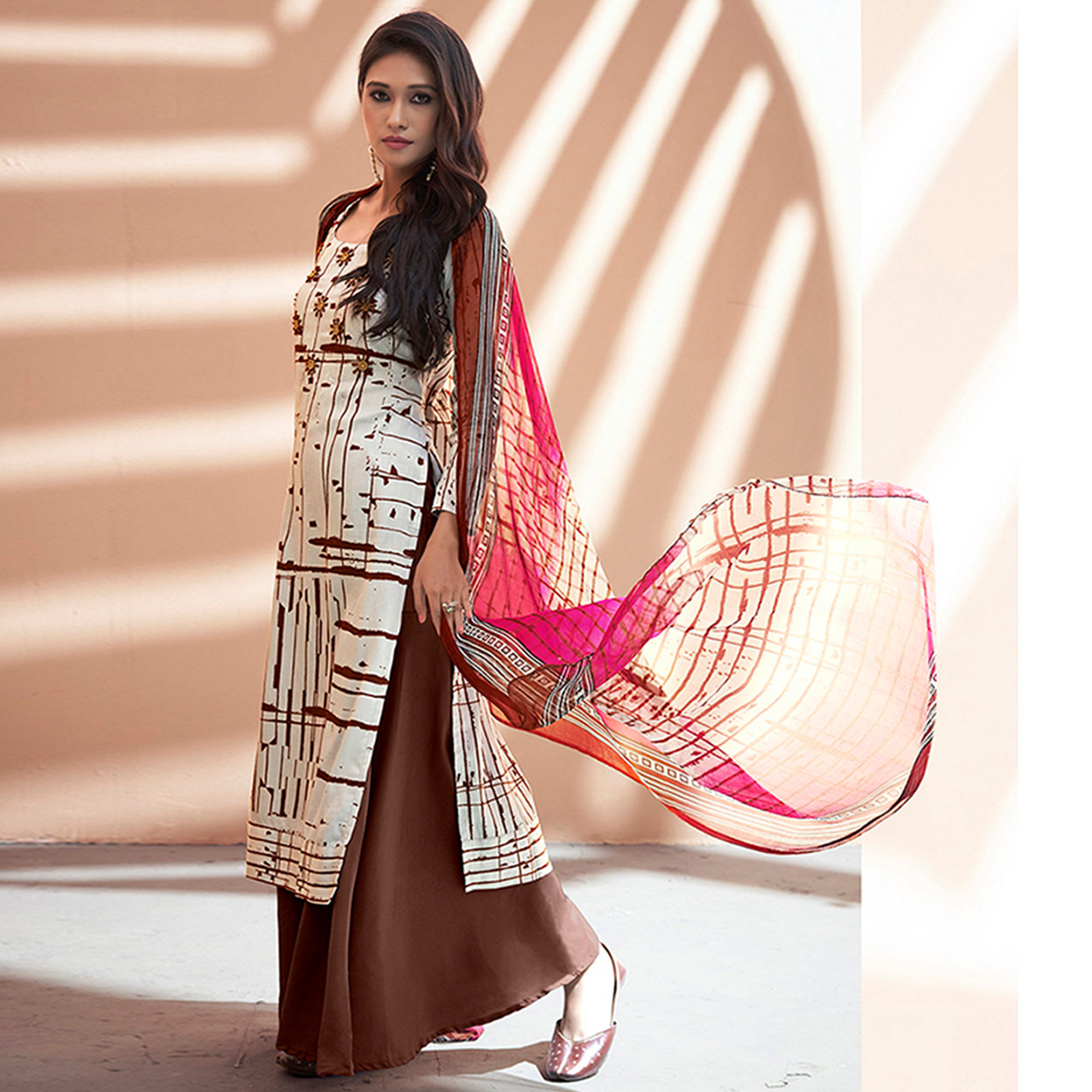 Amazing Off White-Brown Colored Partywear Printed Silk Palazzo Suit