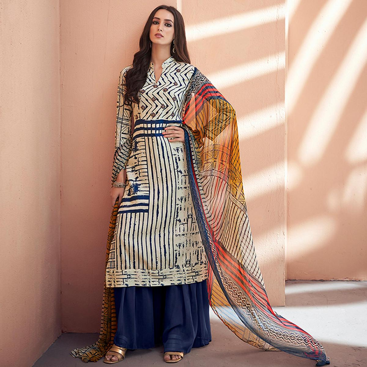 Stunning Off White-Blue Colored Partywear Printed Silk Palazzo Suit