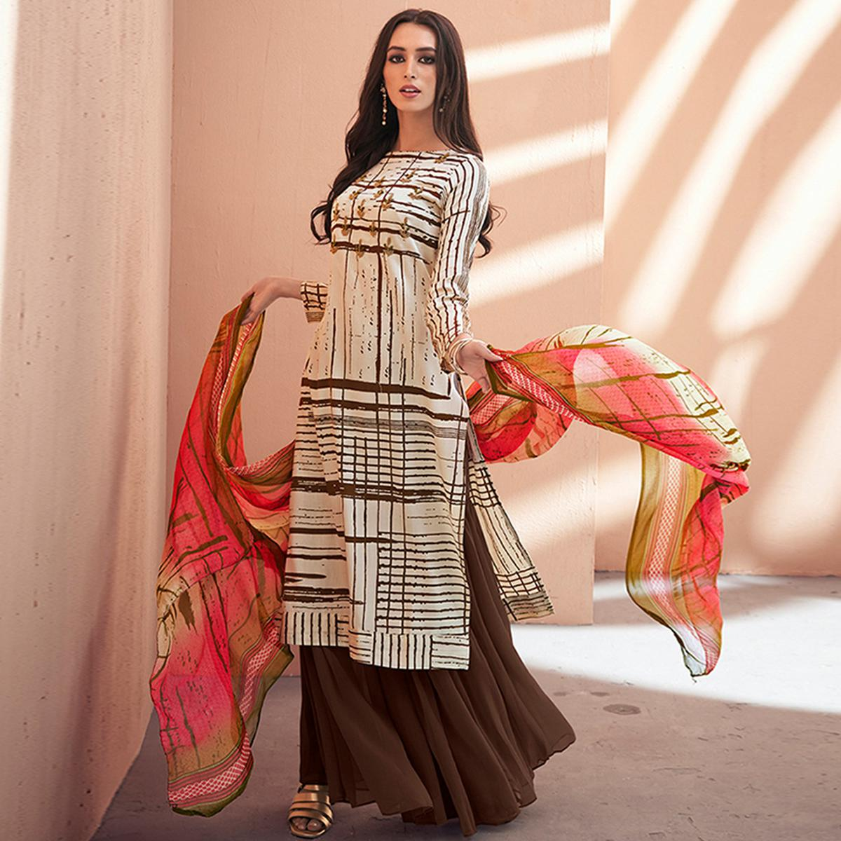 Gorgeous Off White-Dark Brown Colored Partywear Printed Silk Palazzo Suit