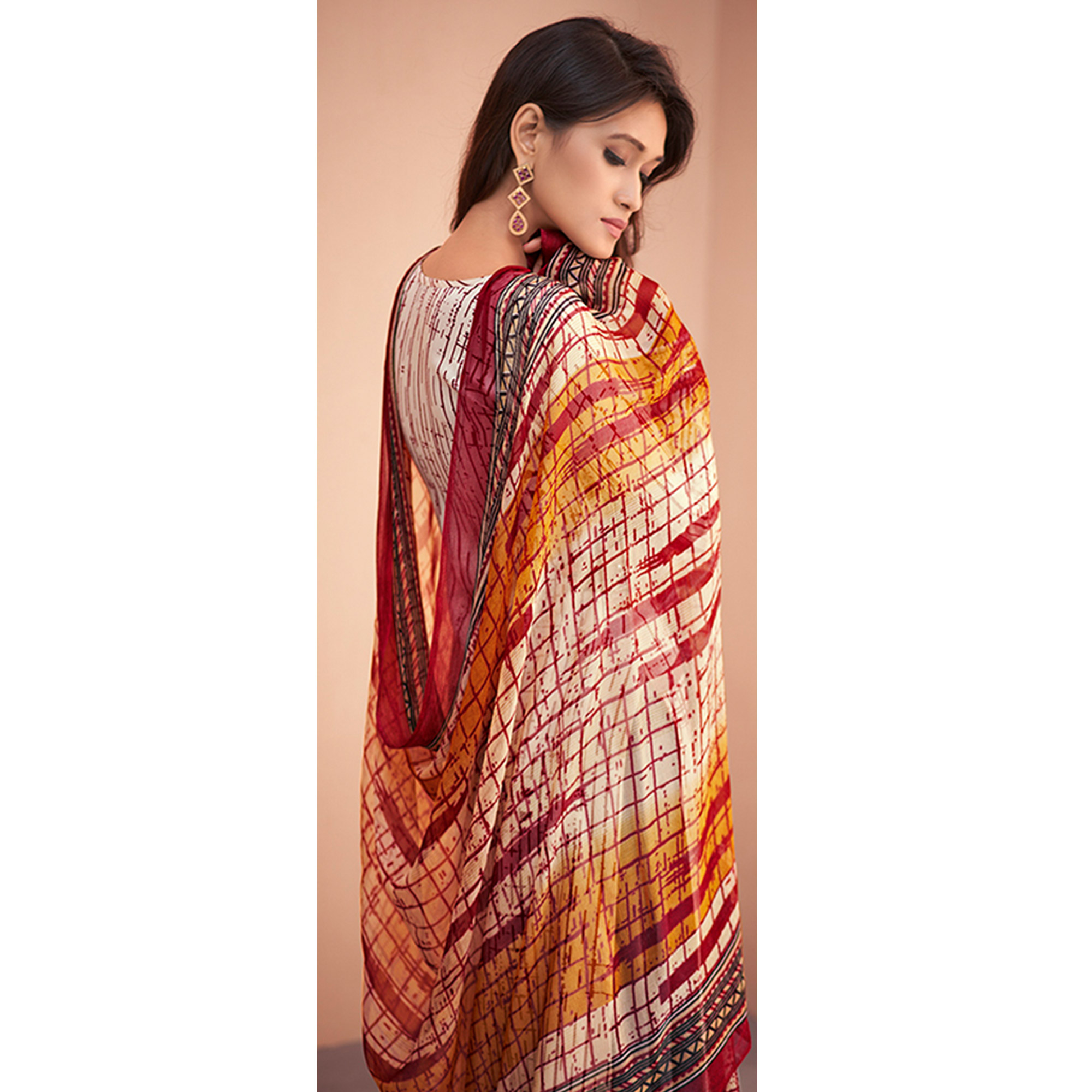 Flaunt Off White-Maroon Colored Partywear Printed Silk Palazzo Suit