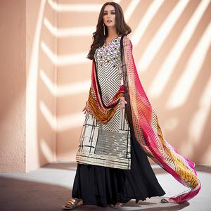 Classy Off White-Black Colored Partywear Printed Silk Palazzo Suit