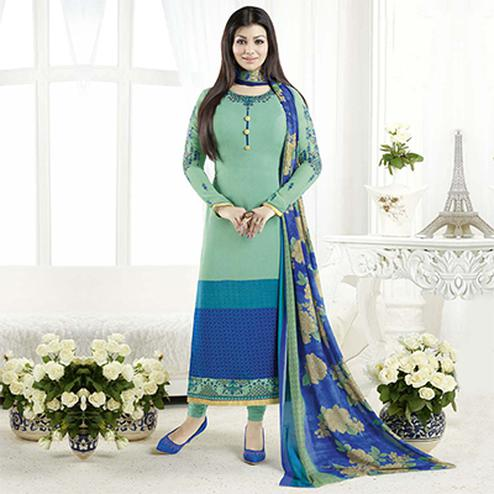 Sizzling Turquoise Designer Embroidered Crepe Salwar Suit