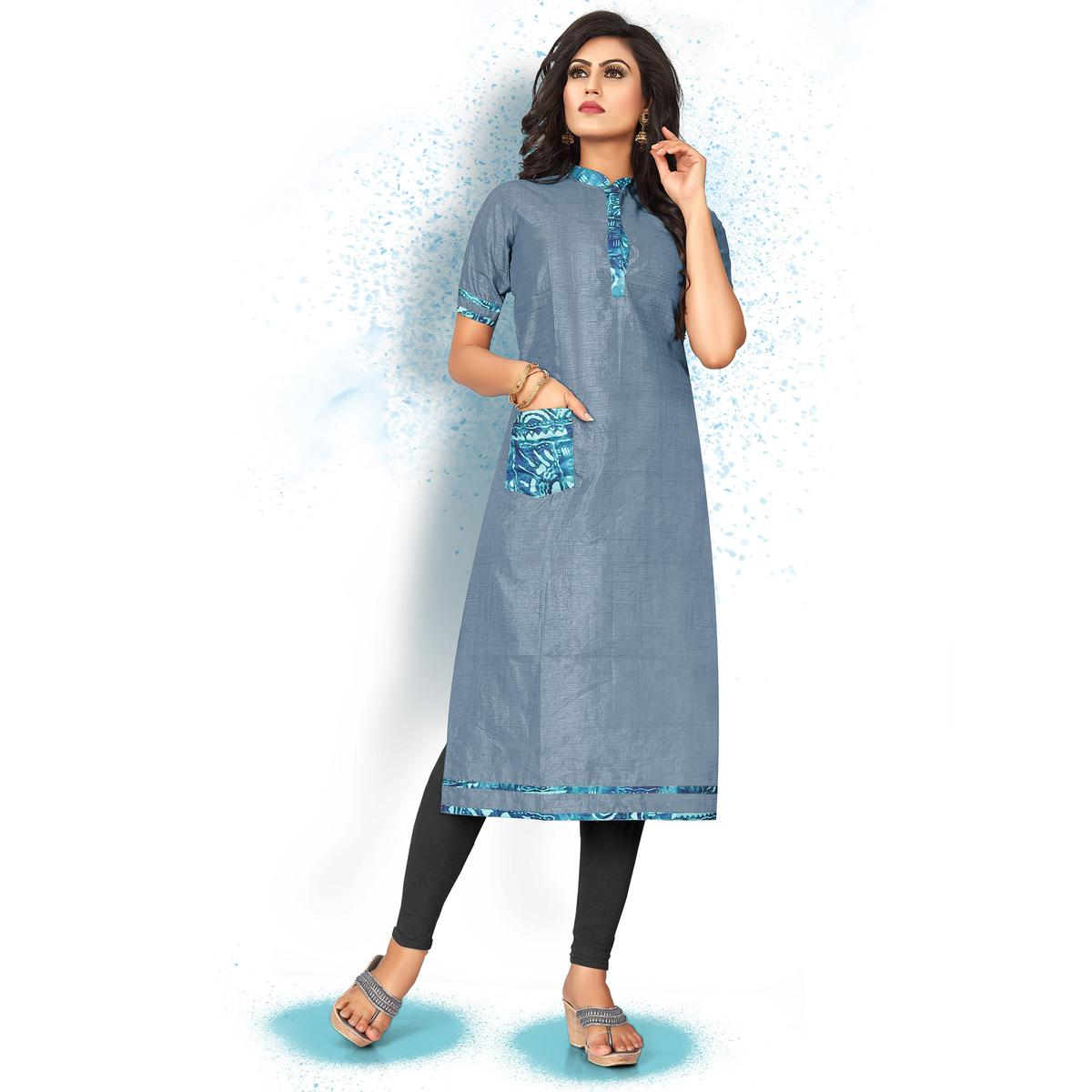 Attractive Steel Blue Colored Casual Wear Art Silk Kurti