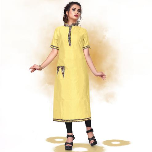Gorgeous Yellow Colored Casual Wear Art Silk Kurti