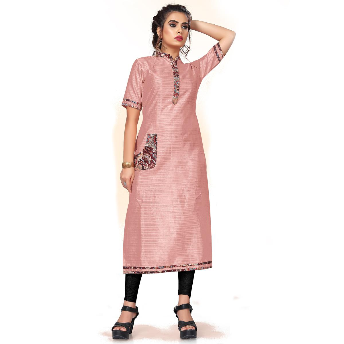 Classy Dusty Pink Colored Casual Wear Art Silk Kurti
