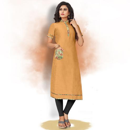 Glorious Mustard Yellow Colored Casual Wear Art Silk Kurti