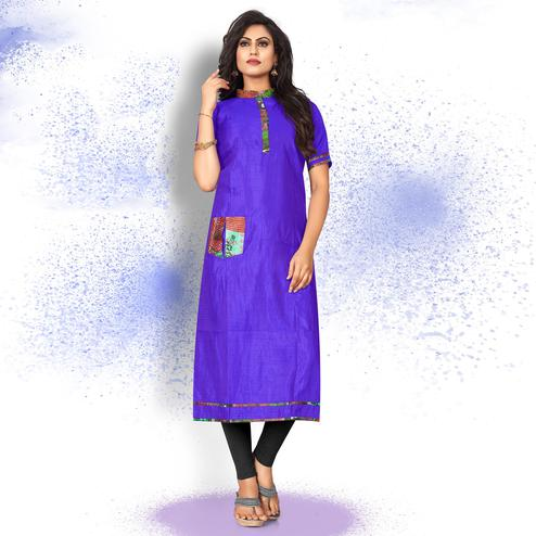 Graceful Violet Colored Casual Wear Art Silk Kurti