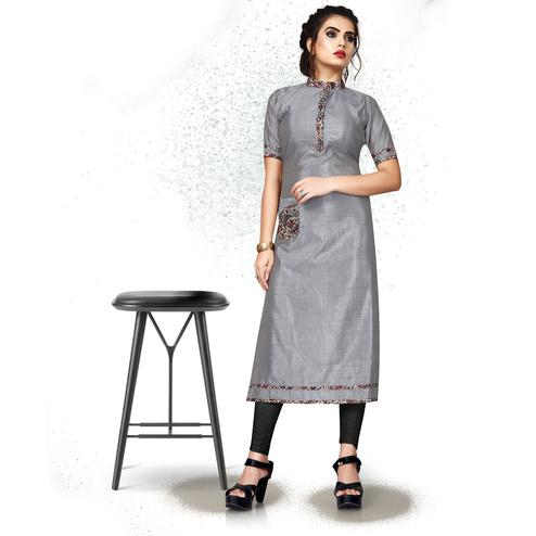 Lovely Grey Colored Casual Wear Art Silk Kurti