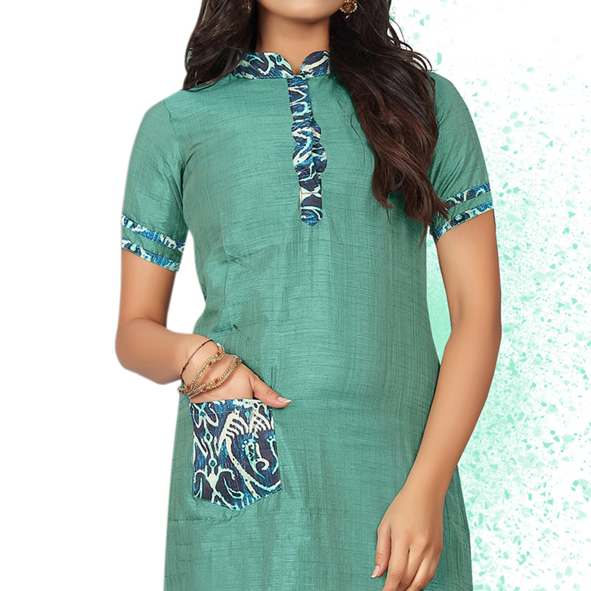 Pretty Sea Green Colored Casual Wear Art Silk Kurti
