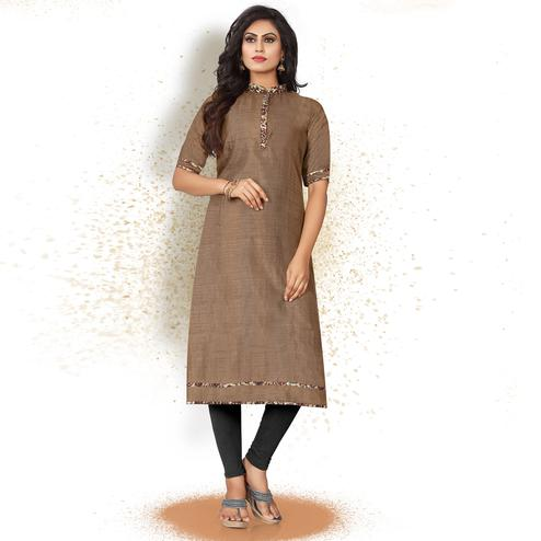 Charming Brown Colored Casual Wear Art Silk Kurti