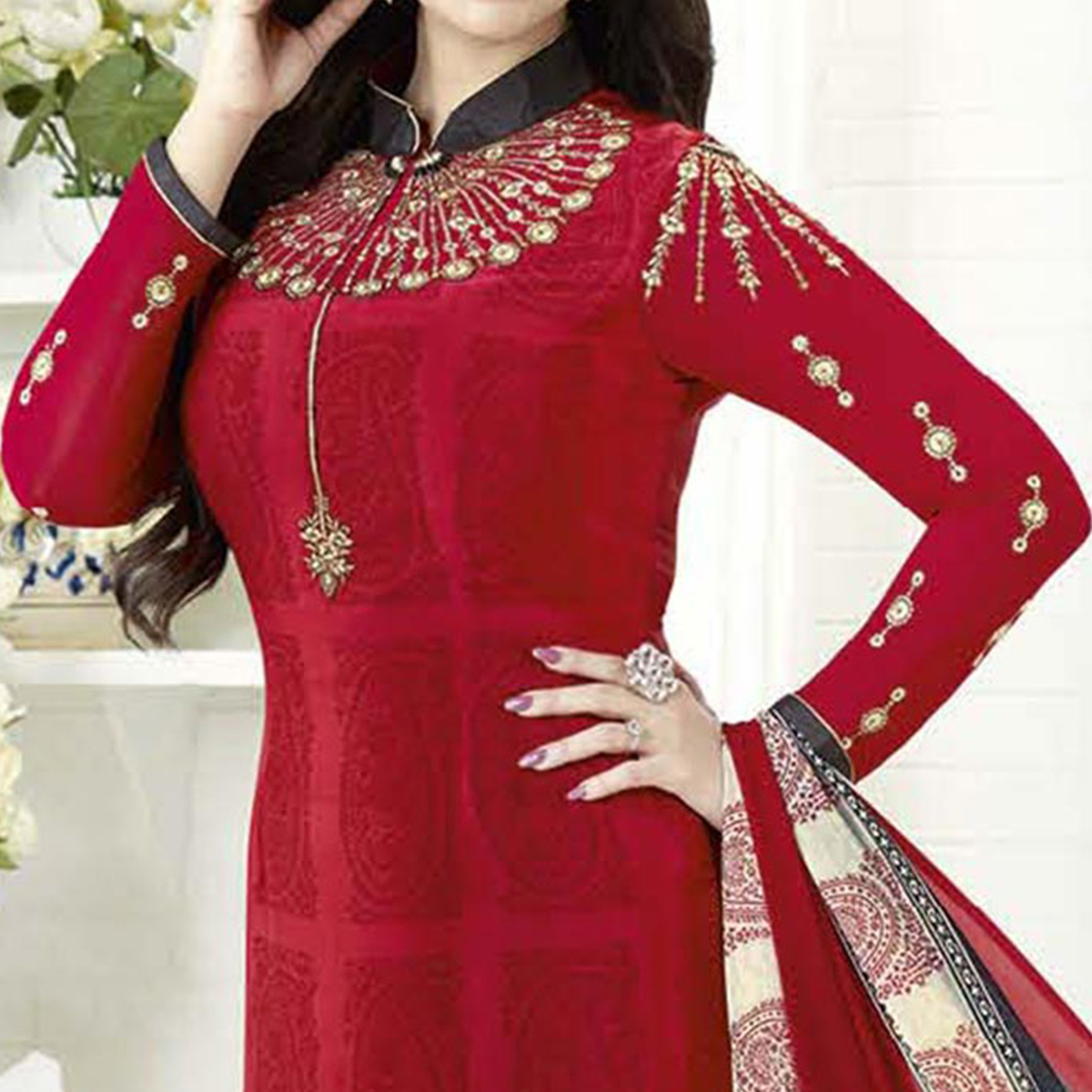 Delightful Red Designer Embroidered Crepe Salwar Suit