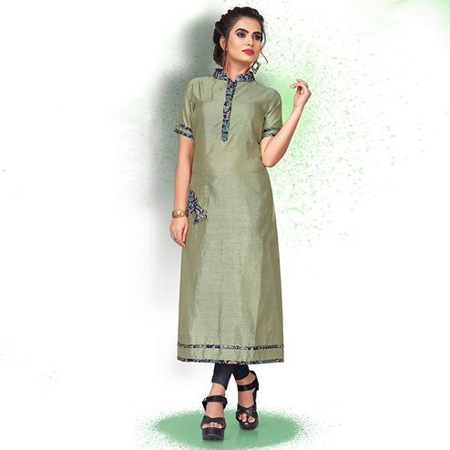 Ideal Pastel Green Colored Casual Wear Art Silk Kurti