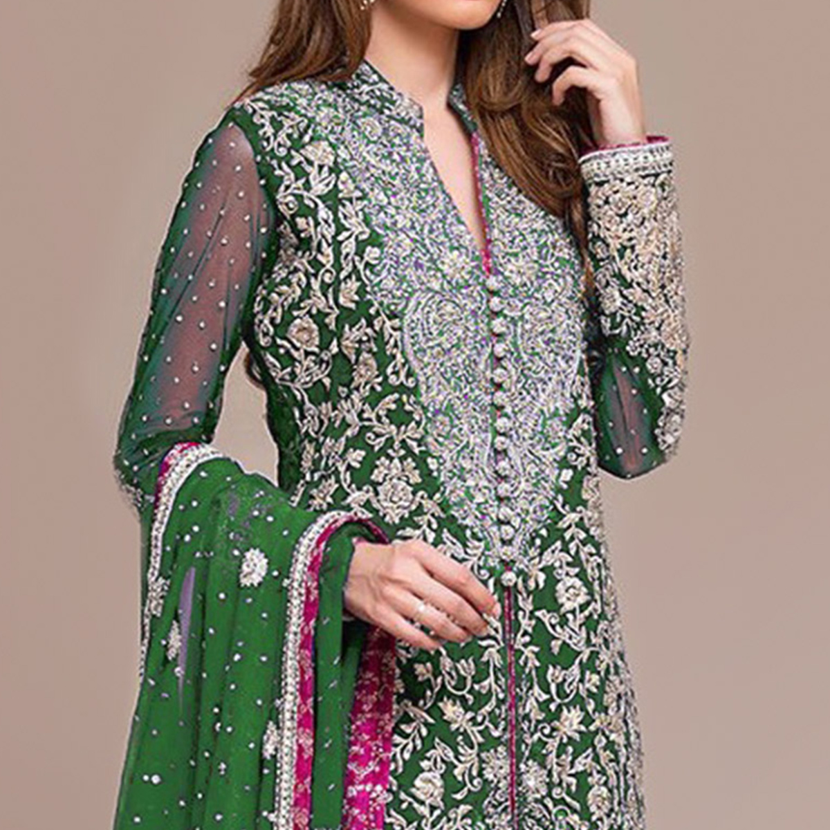 Impressive Green Colored Partywear Embroidered Georgette Pant Style Suit