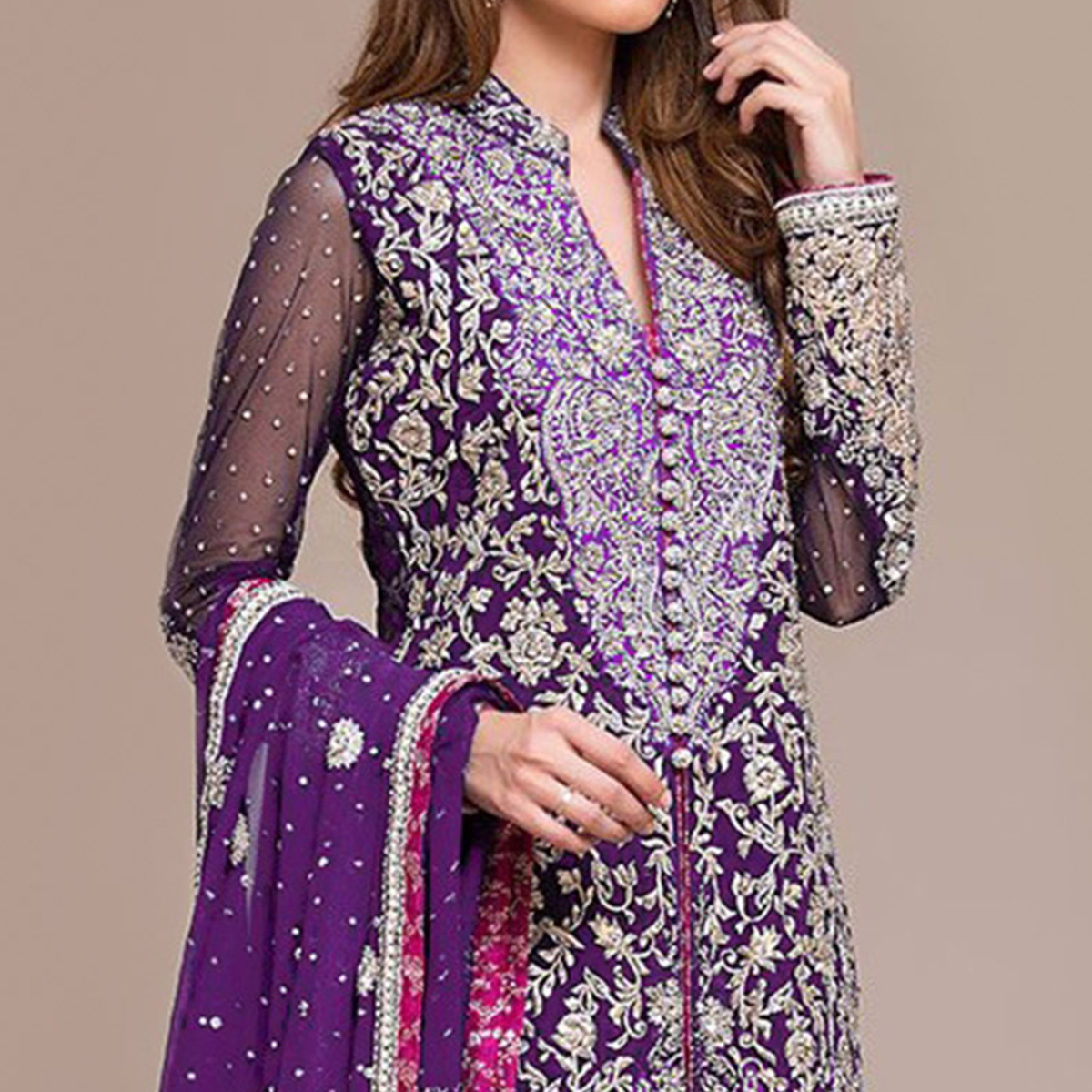 Unique Purple Colored Partywear Embroidered Georgette Pant Style Suit