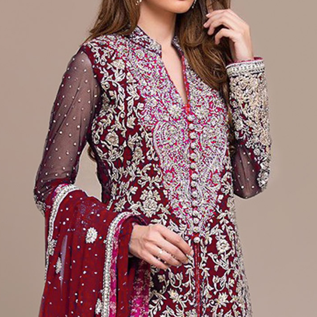 Elegant Maroon Colored Partywear Embroidered Georgette Pant Style Suit