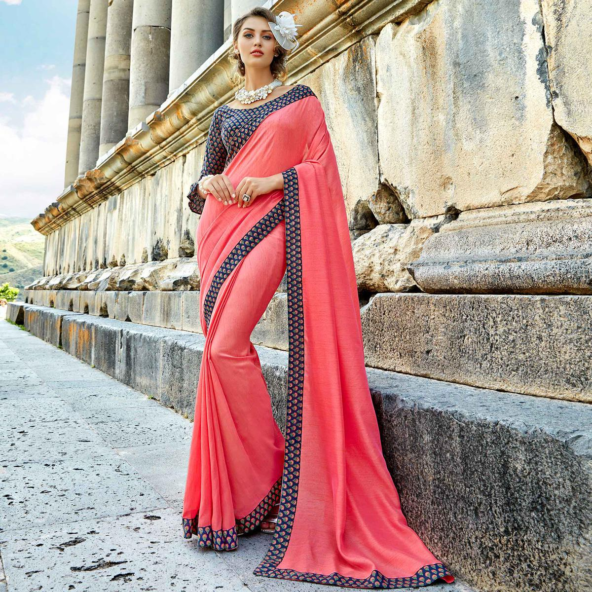 Desiring Pink Colored Casual Printed Chanderi Silk Saree