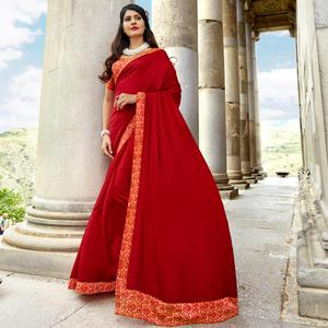 Stunning Red Colored Casual Printed Chanderi Silk Saree