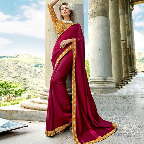 Hypnotic Magenta Colored Casual Printed Chanderi Silk Saree