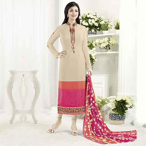 Beautiful Beige Designer Embroidered Crepe Salwar Suit