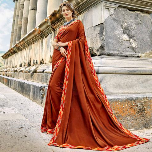 Adorning Rust Orange Colored Casual Printed Chanderi Silk Saree