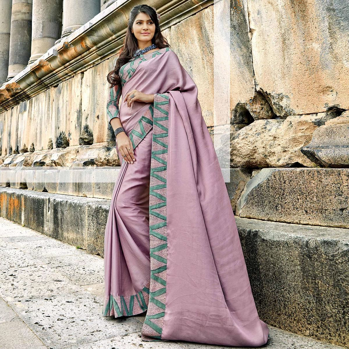Appealing Lavender Colored Casual Printed Chanderi Silk Saree
