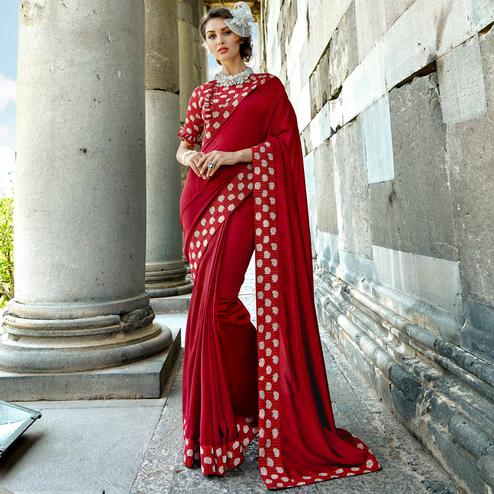 Impressive Maroon Colored Casual Printed Chanderi Silk Saree