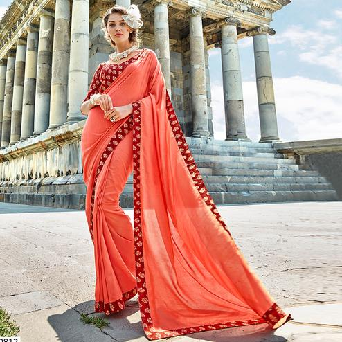 Marvellous Peach Colored Casual Printed Chanderi Silk Saree