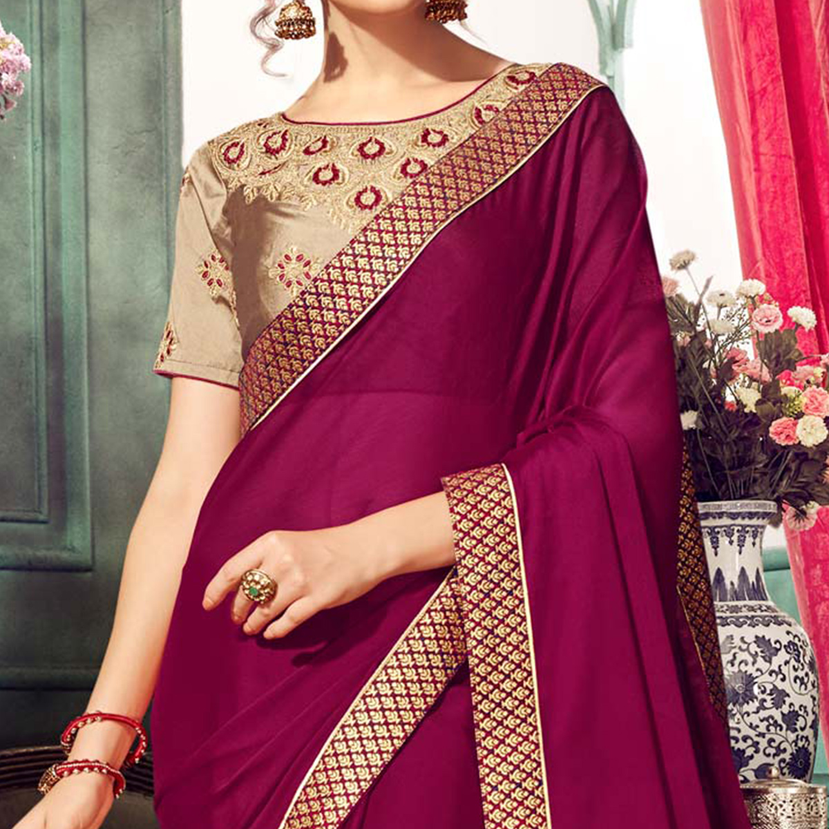Adorable Dark Pink Colored Partywear Embroidered Chiffon Saree