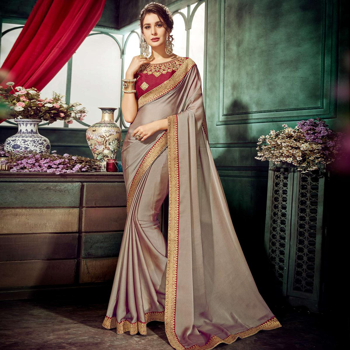 Beautiful Grey Colored Partywear Embroidered Chiffon Saree
