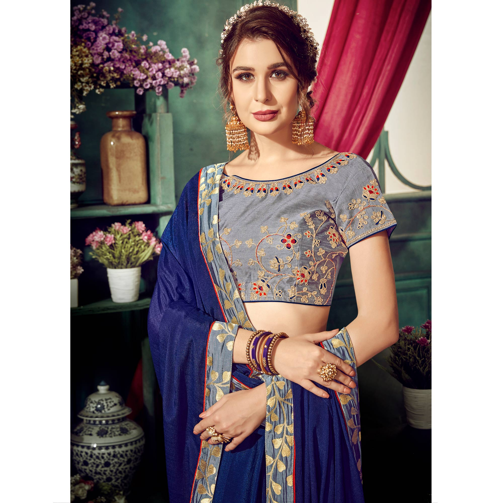 Gorgeous Navy Blue Colored Partywear Embroidered Chiffon Saree