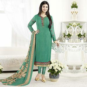 Teal Green Embroidered Work Straight Cut Suit