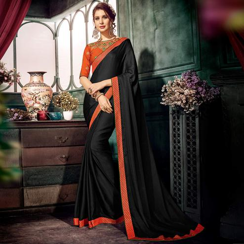Charming Black Colored Partywear Embroidered Chiffon Saree