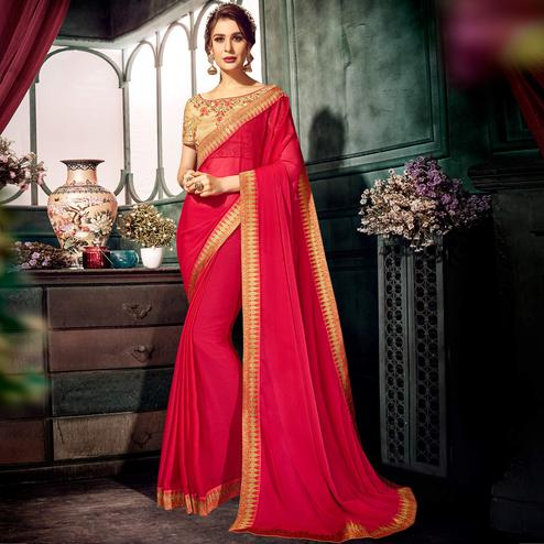 Ravishing Pink Colored Partywear Embroidered Chiffon Saree