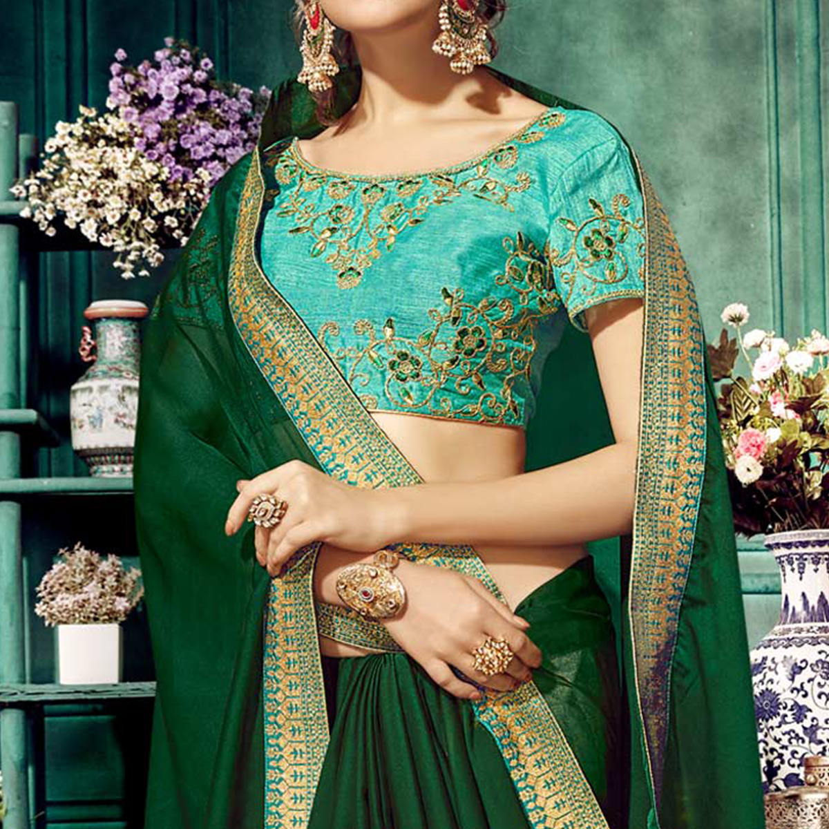 Delightful Green Colored Partywear Embroidered Georgette Saree
