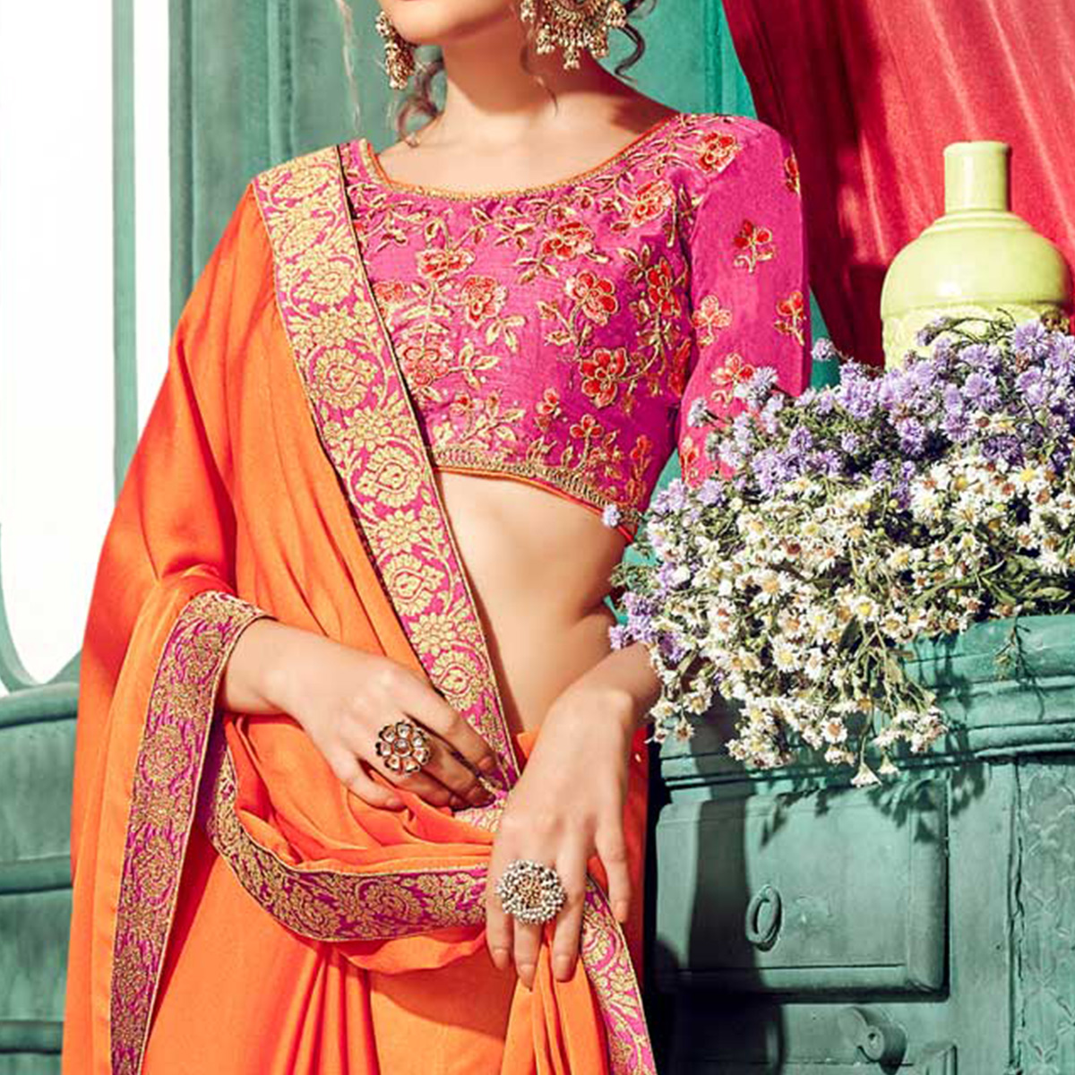 Blooming Orange Colored Partywear Embroidered Chiffon Saree