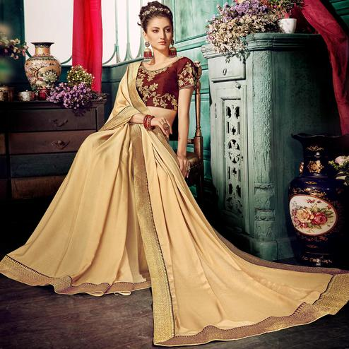 Marvellous Beige Colored Partywear Embroidered Georgette Saree