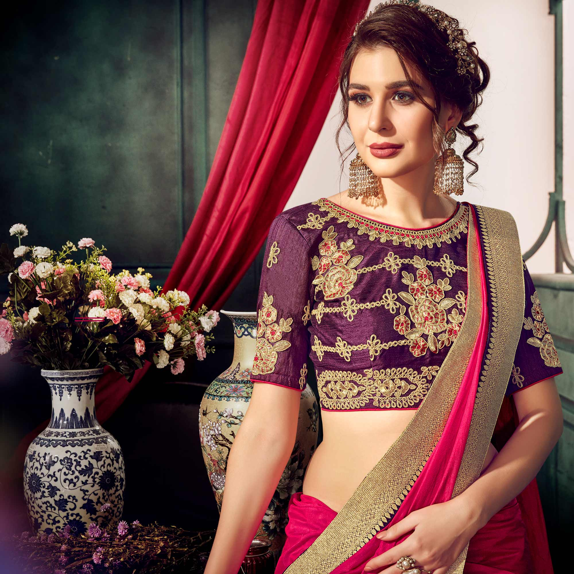 Mesmerising Deep Pink Colored Partywear Embroidered Chiffon Saree