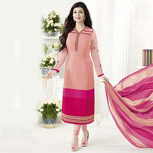 Peach Crepe Designer Embroidered Partywear Salwar Suit