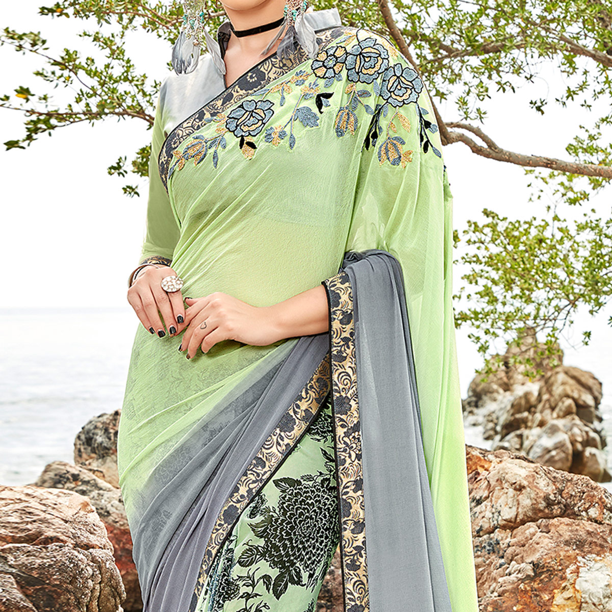 Glowing Mint Green-Multi Colored Partywear Printed Georgette Half-Half Saree